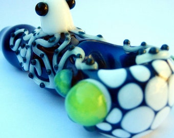 Octopus Pipe - electric blue with a nice white honey comb - Slime Glass