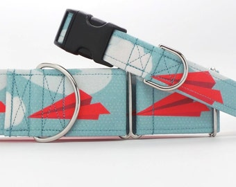Paper Planes Pet Collar (Martingale, Buckle, or Tag)
