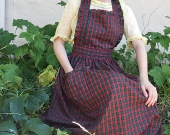 70s Handmade Plaid Apron