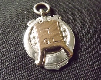 Vintage Sterling Silver & 9ct Rose Gold Albert Watch Chain Fob by James Fenton 1931
