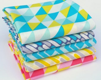 Pastel Me More Fat Quarter bundle - Camelot - modern geometric fabric by the yard, triangle fabric, yellow, blue