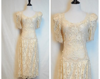 Inory Lace 80's Dress/ Vintage Cachet Dress