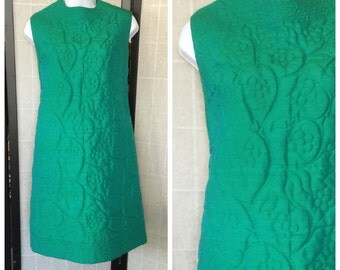 Vintage Quilted dress/ 60's Mod Green Dress