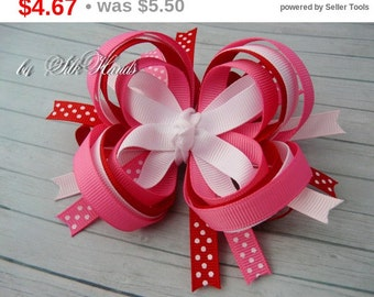 Back to school Sale Boutique Hair Bow - pink. red. white