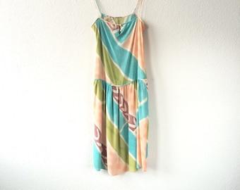 Vintage dress // Mary McFadden Printed Silk Drop Waist Sun Dress