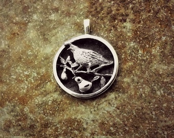 Partridge in Pear Tree Christmas Charm - Handmade in 14k Gold or Sterling Silver