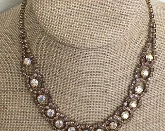 Vintage Pink Mauve Rhinestone Necklace