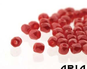 PASTEL CORAL RED: 2mm Faceted Round Firepolish Czech Glass Beads (100 beads)