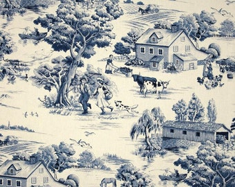 Upholstery Fabric, Drapery Fabric, Blue French Toile Fabric, French Country Home, Country Farmhouse, Shabby French Cottage Fabric