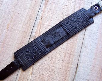 16 mm Dark Brown Calf Leather Watch Strap. Folk Style Watch Band.