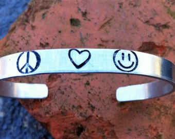 Peace Love and Happiness Stamped Bracelet