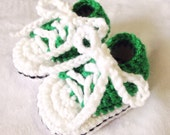 Made to Order Green Crochet baby booties crochet baby shoes baby tennis shoes