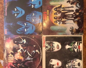 Lot of Four KISS Albums / Alive / Love Gun / Creatures of the Night / Dynasty