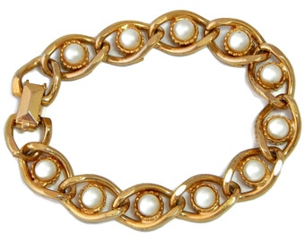 Pearl Chain Link Bracelet Chunky 7 inch
