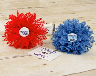 Tennessee Titans, Honeycomb Lace Dog Collar Flower, Blue Attachment, (Collar not included), Collar Flower, Dog Accessory, Photograpy Prop