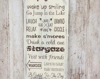Camping Rules, Cabin Rules, Lake House Rules, Custom Rules, Rustic, Painted, Wood Sign