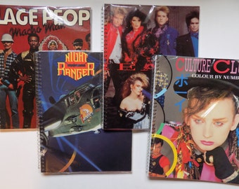 Village People, Night Ranger, Heart & Culture Club -  recycled album cover notebooks
