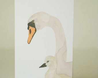 Greeting card | Australian swans watercolour | blank inside | Mothers Day | new baby