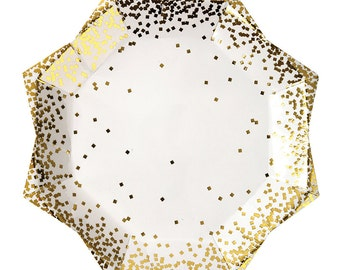 "Gold Confetti Star Paper Plates (Set of 8) - Meri Meri 9"" Dinner Plates Metallic Gold"