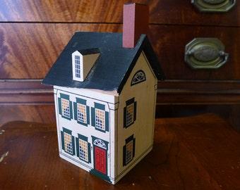 Wood house bank with dormer window
