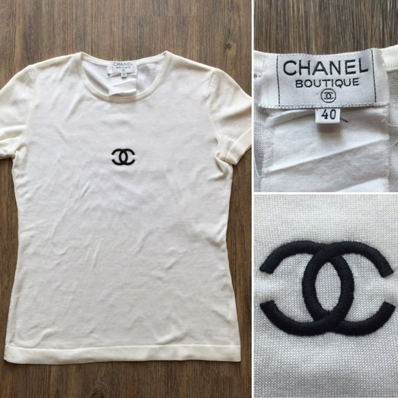 chanel authentic cc logo rare iconic white and black vintage