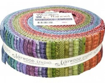 Maywood Woolies Colors  Flannel Jelly Roll 40 Fabric Strips