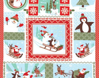 Kate Spain Christmas Joy Laughing all the Way Panel Fabric BTY 1 Yd