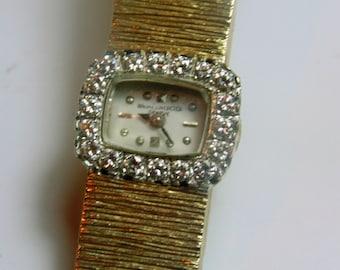 Vintage Baume Mercier 14kt Yellow Gold Watch With Diamonds