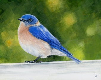 "Bluebird ""Sunny Afernoon"" giclée print of original acrylic painting"
