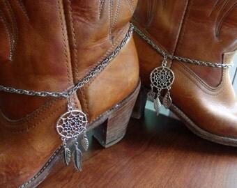 boot chains, Aztec boot chains, Dreamcatcher Anklets, Feather Anklets, Navajo boot chains, Wearable Ankle Tattoo, Dream Catcher Boots