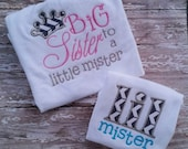 Big Sister, Little Mister Set, Big Sister Tshirt, Little brother Tshirt, Pregnancy Announcement Shirt, Sisters Embroidered Shirt