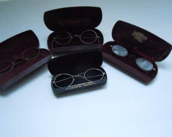 Lot 4 pr. Vintage Riding spectacles with cases