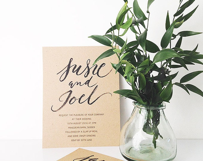 Featured listing image: Brush calligraphy style wedding invitations and save the dates