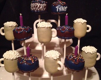 Birthday Cake & Beer Mugs 21st Bday cake pops, Adult