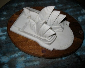 50% Off Limoges Bisque Sydney Opera House with Wooden Plaque