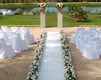 "Aisle & Event Runner ~ Wedding White ~ 50 ft L x 38"" W ~ Puncture Resistant!"