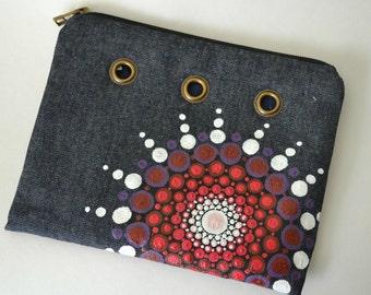 Pencil Case, Zipper Puch, Zipper Bag, Pencil Bag, Paintbrush Bag, Small Purse, Painted Clutch, Makeup Bag, Dotart Bag, Mandala Bag, Painted