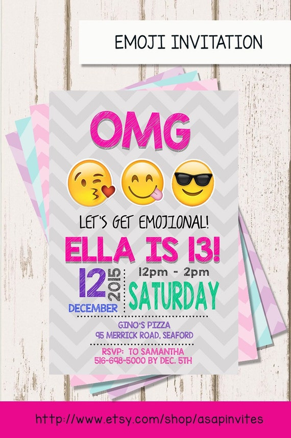 EMOJI BIRTHDAY INVITATION Emojis Emoji Invite This Is A Personalized Invitation I Will Add Your Information You Be Sent High Resolution Jpeg
