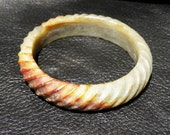 Carved Jade Bangle Vintage Nephrite Twist Pattern 60 mm