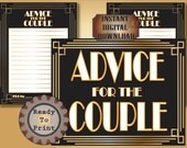 Advice for the Couple Cards Printable Set 2 Files Roaring 20s Prohibition Era Art Deco Gatsby Gold Black White Wedding Illuminate Sign Set