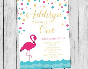 5x7 DIY/PRINTABLE Pink Flamingo Birthday Invitation