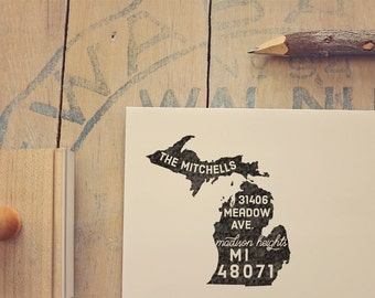 Michigan Return Address State Stamp - Personalized Rubber Stamp