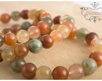 Multicolor rutile quartz bracelet 9mm beads grade B   stretch bracelet natural untreated gemstones   energy healing meditation jewelry