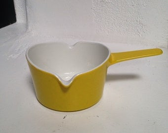 Small Mustard Yellow Vintage Mid Century Michael Lax Copco Cast Iron Enamel Saucepan Heavy Quality Durable