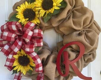 Burlap and sunflowers/Burlap wreath/Sunflower wreath/Spring wreath/Summer wreath