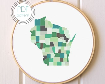Wisconsin Embroidery Pattern PDF. Modern Hoop Art. Hand Embroidery Pattern.