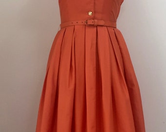 Vintage 1950s Dress, Luscious Orange Cotton Sateen, Fitted Bodice, Full Skirt, A Real Classic.