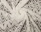 Off White Chevron Open Knit Sweater Lace Fabric Style 6728