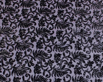 Purple Black New Victorian Embroidered Sequins Fabric - 1 Yard 2816