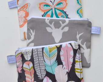 Eco Friendly Reusable Snack Bag - Choose Your Size and Print - Wingspan Butterfly, Buck Forest Mist, Flight Arrow Metallic Feathers